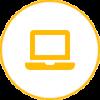 Icon gold with white laptop