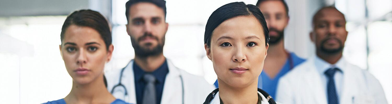 Master of Nursing MN program Clinical Nurse Leaders standing in hallway