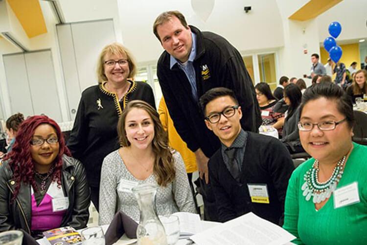 Nursing students with Dean Kim Litwack at Reception