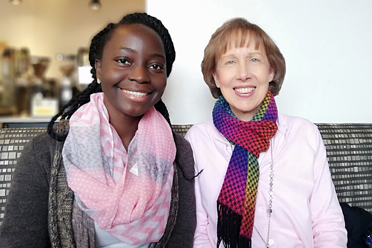 Systems Change and Peacebuilding Fellow Victoria Ibiwoye  and Sarah Kubetz from Milwaukee Public Schools.