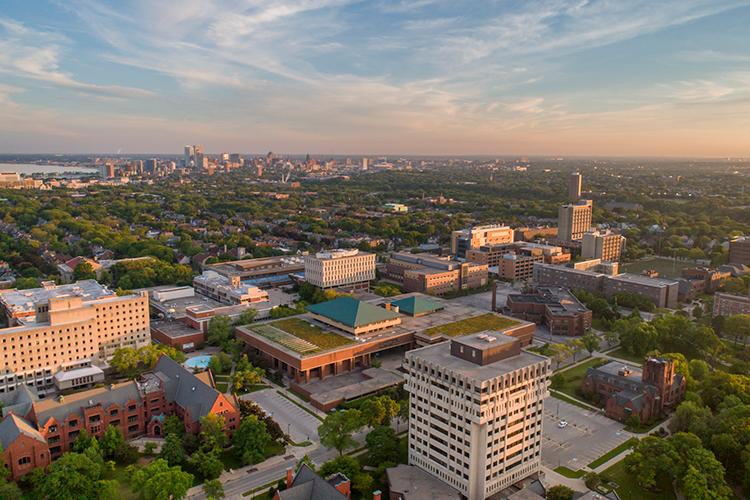 Aerial photo of the UWM campus