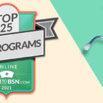 Top RN to BSN Program Badge on an ivory and green background with a stethoscope