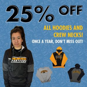 save 25 percent off hoodies and crew neck sweaters november 12th through November 21st.