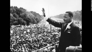 Black American civil rights leader Martin Luther King (1929 - 1968) addresses crowds during the March On Washington at the Lincoln Memorial, Washington DC, where he gave his 'I Have A Dream' speech.   (Photo by Central Press/Getty Images)