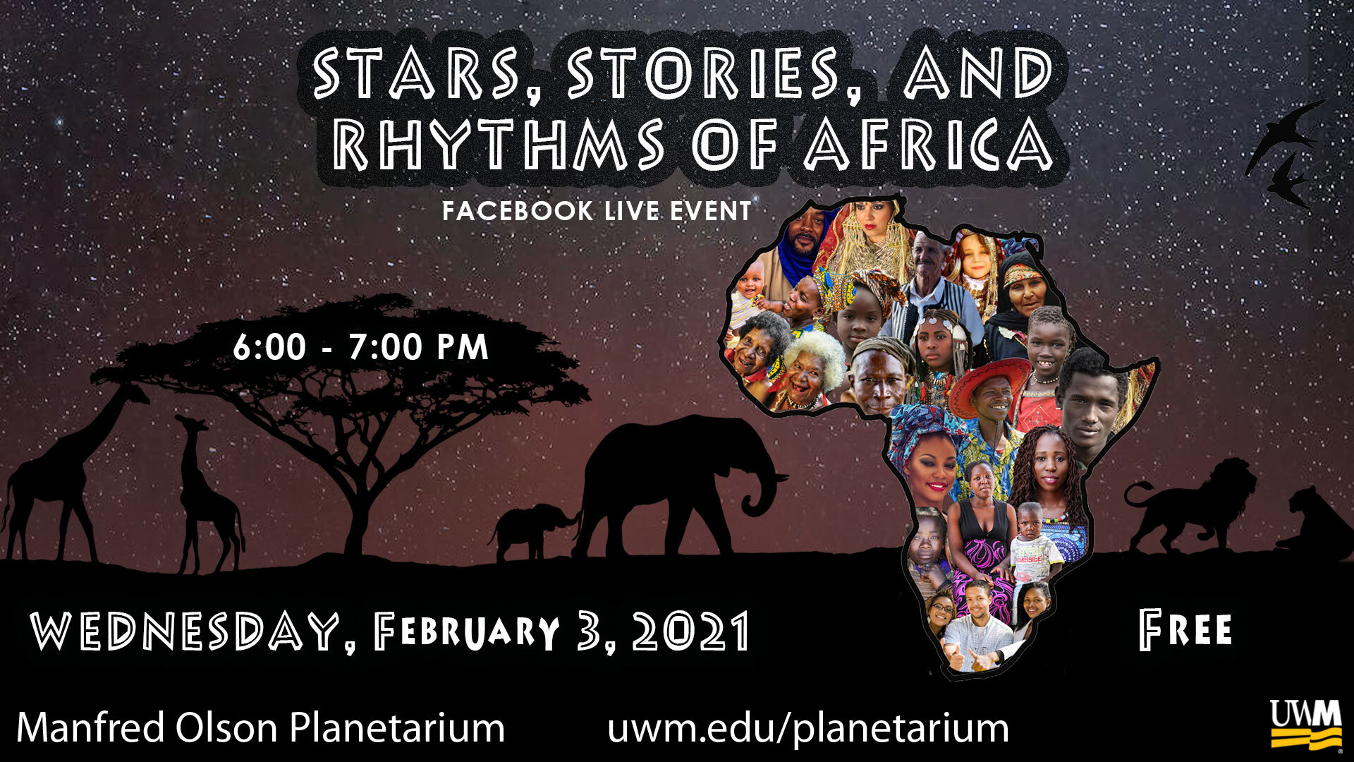 Stars Stories & Rhythms of Africa; Facebook Live Event; February 3, 2021 6 - 7 pm