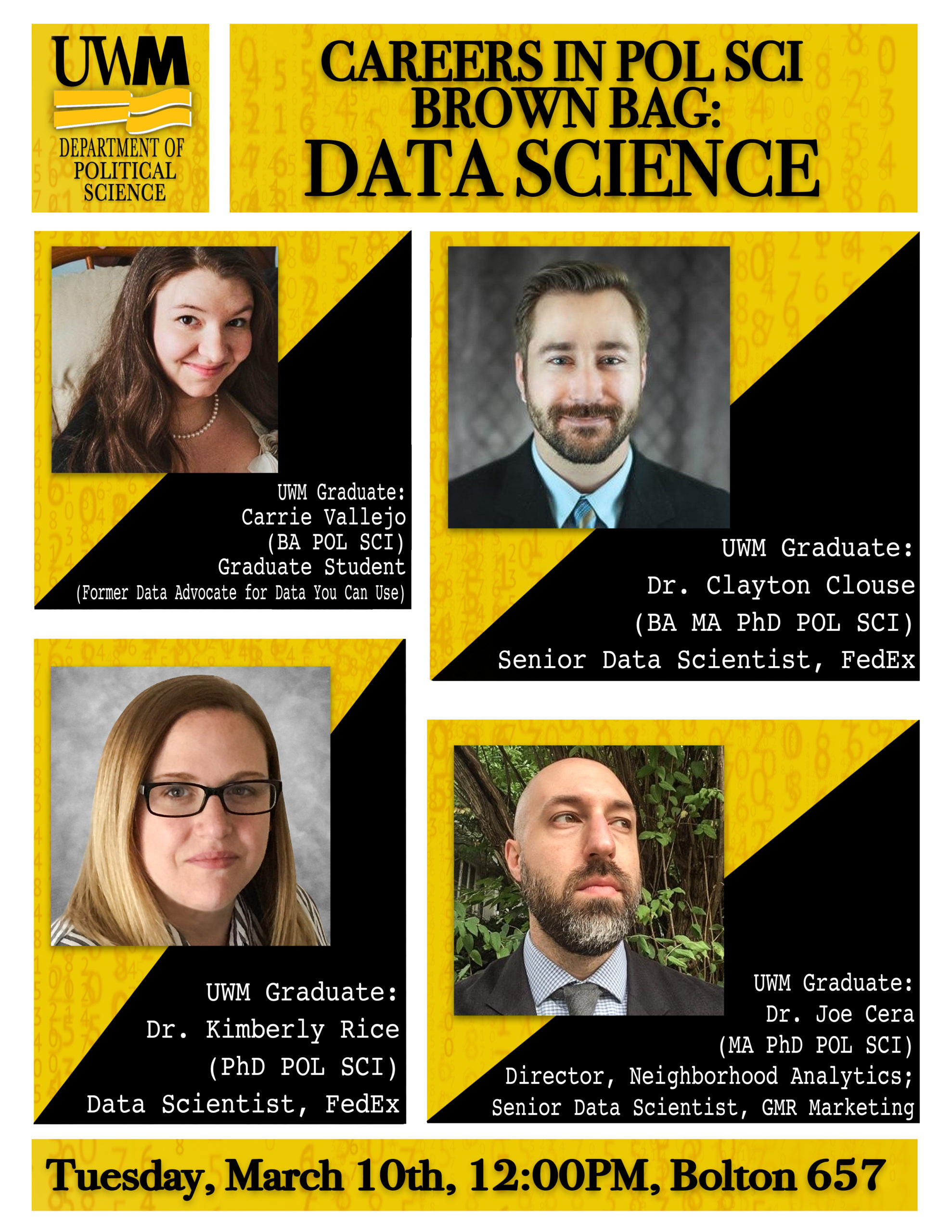 Careers in POL SCI Brown Bag: Data Science flyer with four alumni photos who work in the field.