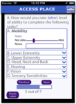 Screenshot showing the acessibility rating process for different disabilities on Access Place