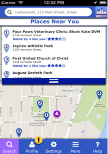 Screenshot showing accessibility ratings available for nearby locations on Access Place