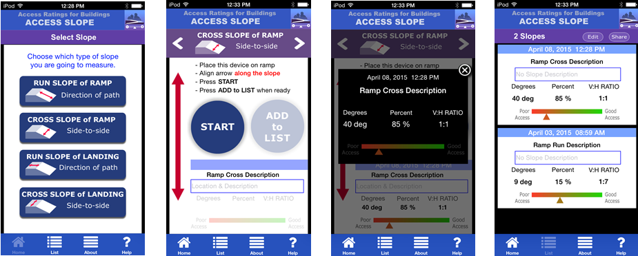 Four screenshots demonstrating the application design and measurement features of Access Slope