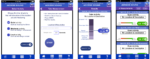 Four screenshots demonstrating the application design and measurement features of Access Sound