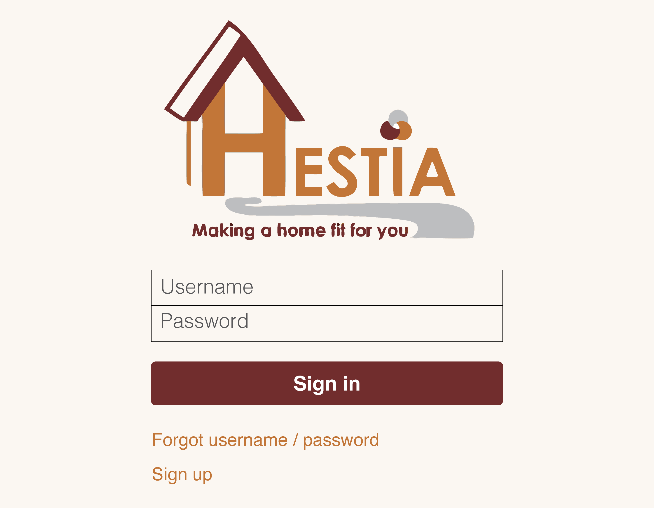 Screenshot of HESTIA login page (old)