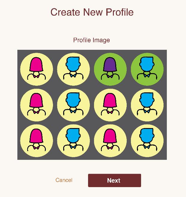 Screenshot of HESTIA new profile setup page