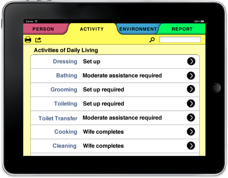 Photo of an iPad with the screen showing various activites of daily living under Activity tab in the HESTIA app