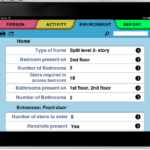 Photo of an iPad with the screen showing various attributes of the individual's environment under Environment tab in the HESTIA app