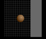 Screenshot of a brain-computer interface display showing a motor-imagery task involving controlling a ball to hit a surface on a particular side of the screen