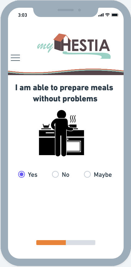 Screenshot of myHestia Mockup of Meal Preparation Problem Prompt