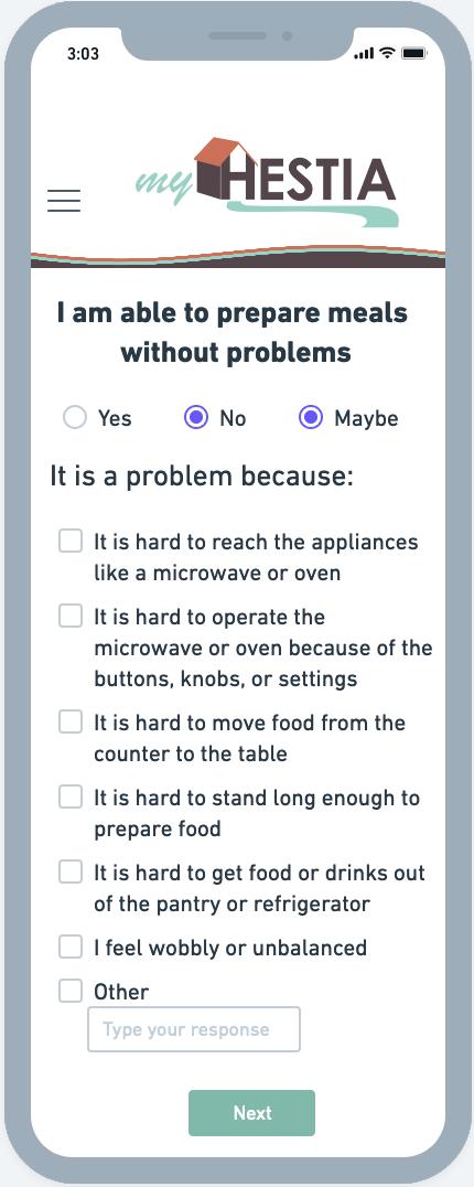 Screenshot of myHestia Mockup of Meal Preparation problem details prompt