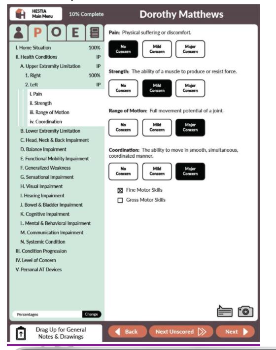 Screenshot of HESTIA Person Taxonomy screen