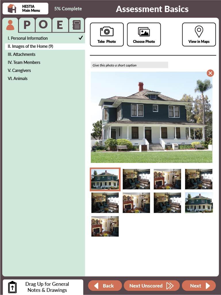 Screenshot of HESTIA Images of Home Assessment upload screen