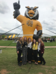 Picture of R2D2 students in front of inflatable Kennesaw State University mascot