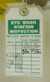 Eyewash Inspection Tag