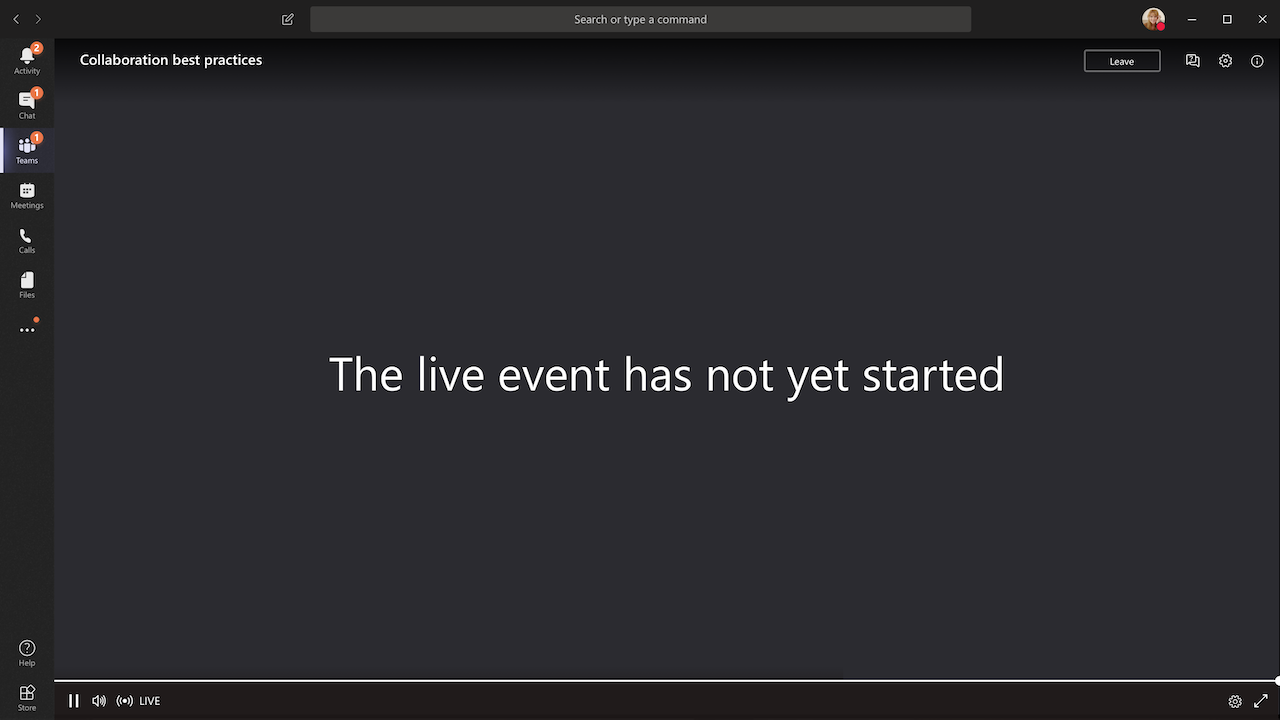 Live Event Not Started Image