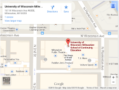 Map to University of Wisconsin Milwaukee School of Continuing Education