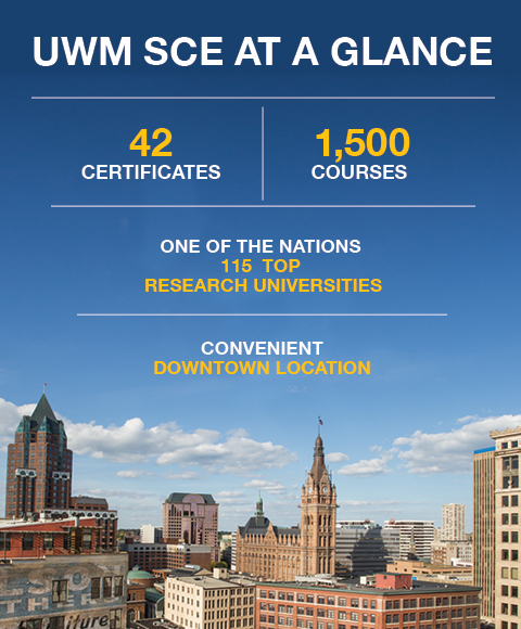 UWM School of Continuing Education at a Glance: Ages Served 5 to 95, 1200 courses offered, 9000 CEUs Granted in 2014, 15000 Participants, 14 to 1 Student Teacher Ration, 13% Participants Who Identfy As Veterans