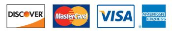 Discover, Master Card, VISA and American Express accepted