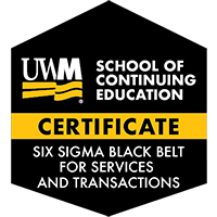 Digital Badge for Six Sigma Black Belt for Services and Transactions Certificate
