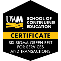 Digital Badge for Six Sigma Green Belt for Services and Transactions Certificate