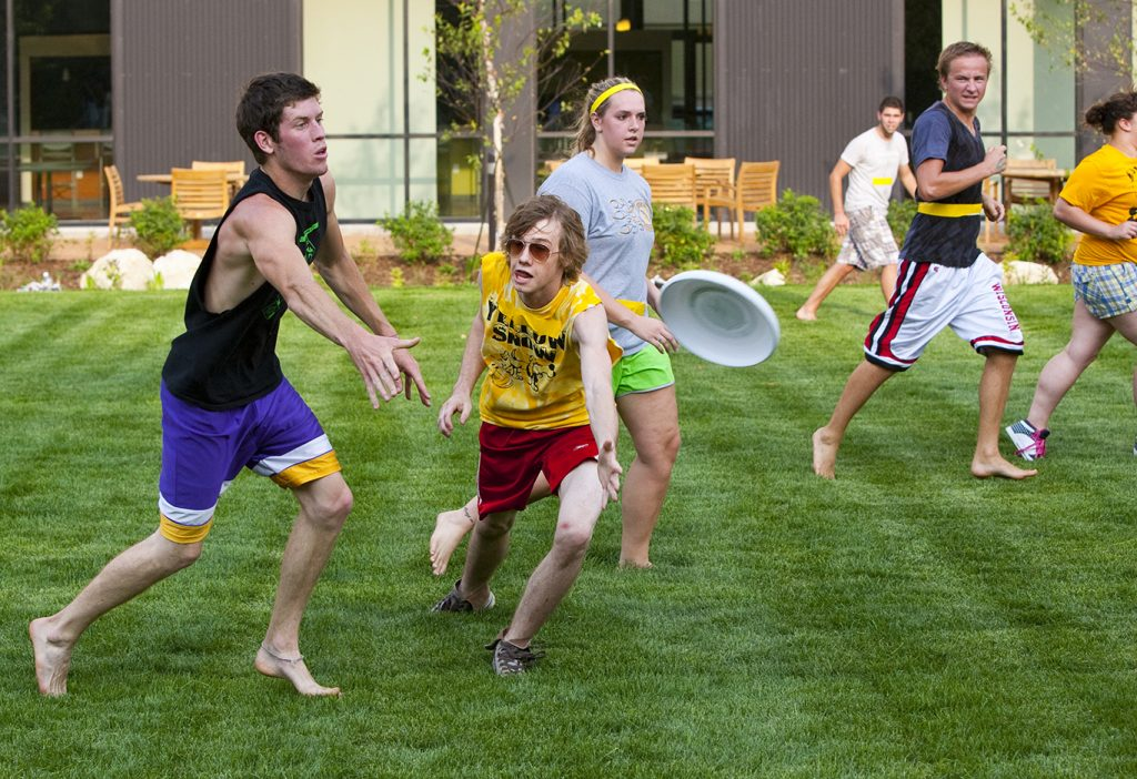 Students living in Cambridge Commons Residence Hall took part in a game of ultimate frisbee as part of back to school activities in the dorm's courtyard.