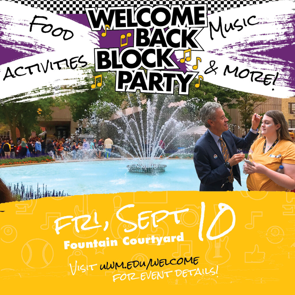 Marketing for Welcome Back Blocky Party on Friday, September 10th. Details include that there will be food, activities and music at the event.