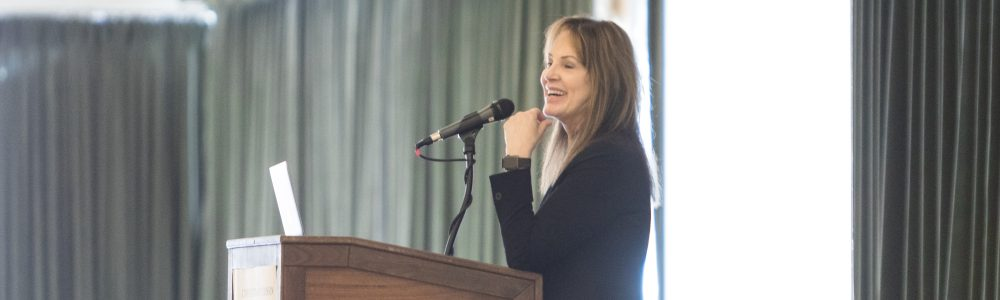 2019 Teaching and Learning Symposium speaker Elizabeth Barkley at a podium