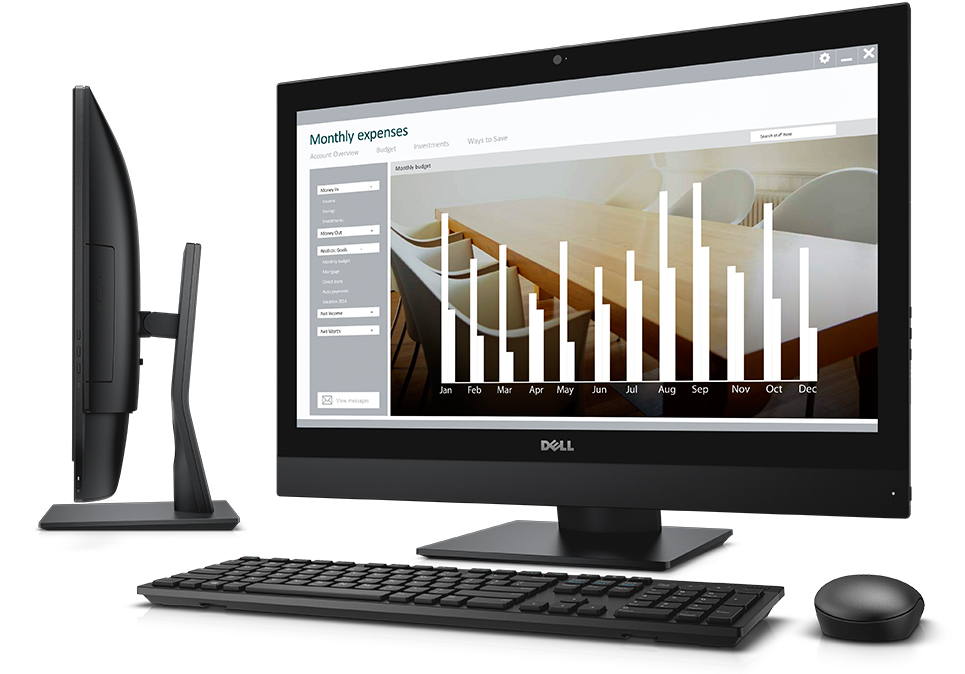 Dell OptiPlex 7440 All-in-One Touch desktop computer with wireless keyboard and mouse.