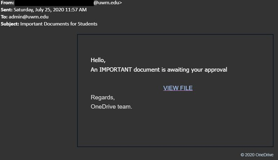Phishing email asking users to open a file