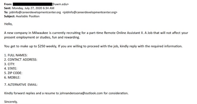 Phishing Email for a job opportunity