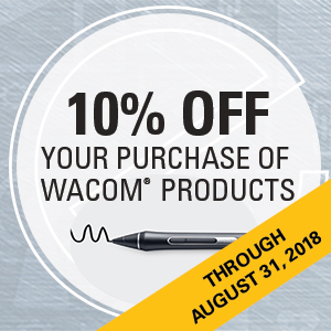 10% off your purchase of Wacom products through August31, 2018