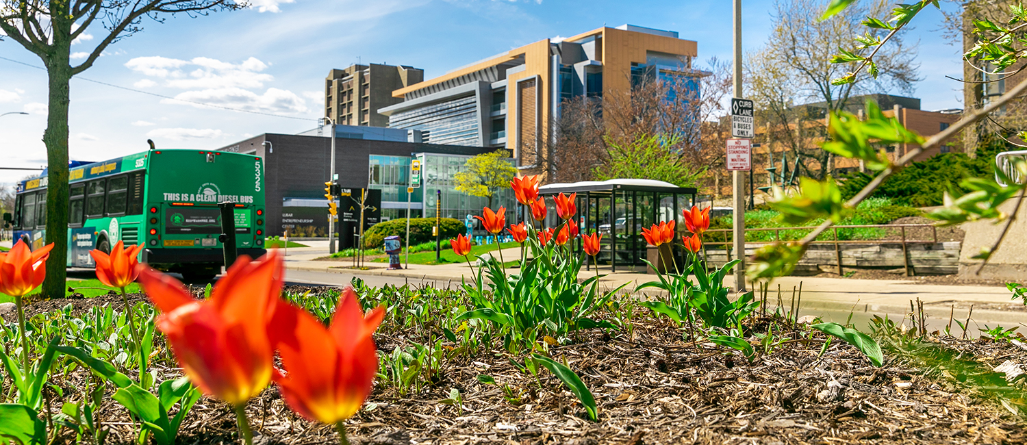 Spring flowers in front of LEC and KIRC buildings, with a city bus on the road