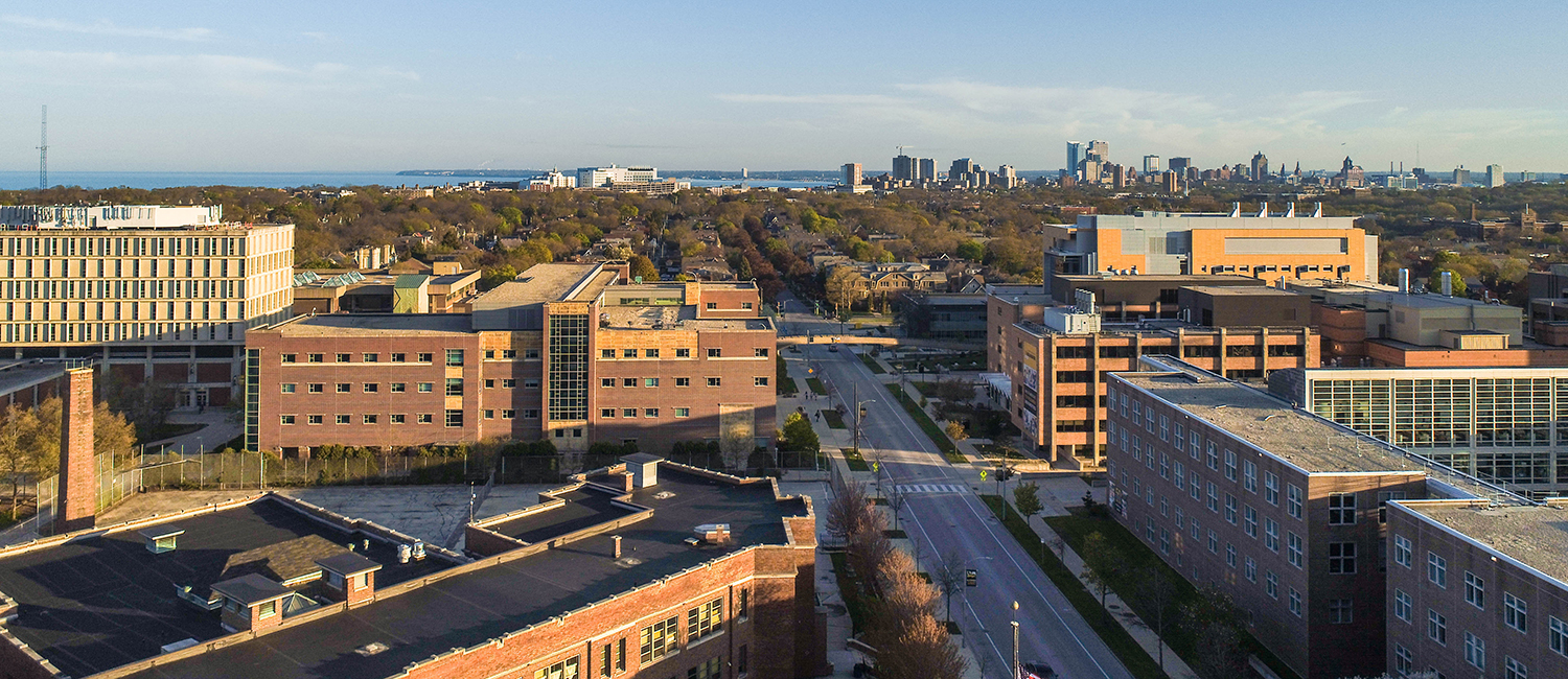 Drone photo of UWM with Downtown Milwaukee in the distance