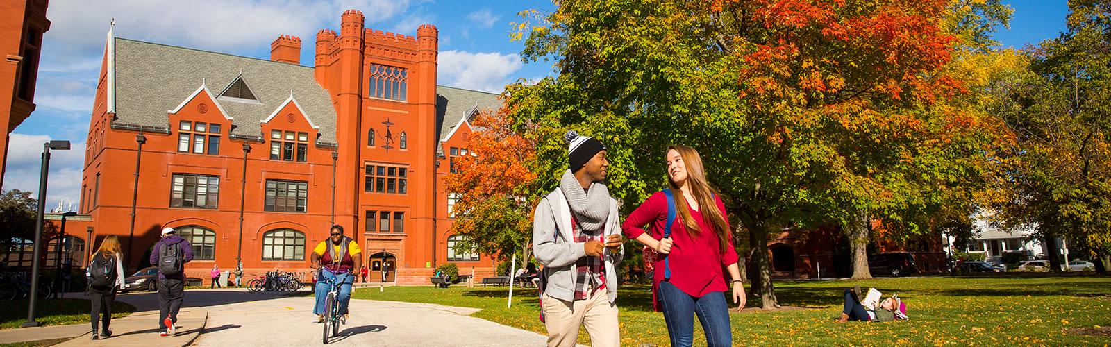 UWM students walking ouside