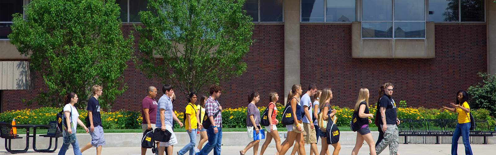 People attending a UWM campus tour
