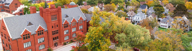 Aerial photo of UWM campus and neighborhood