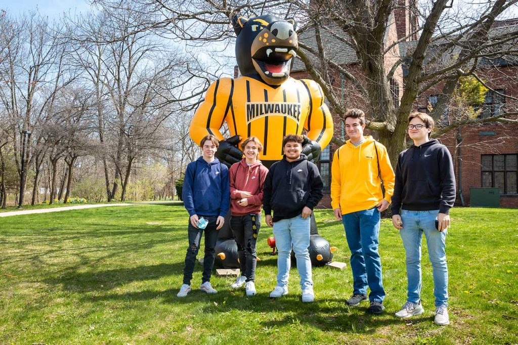 Students with Pounce at Decision Day Celebration