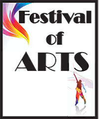 Festival of Arts logo with colorful swoosh and man with outstretched hand holding paintbrush