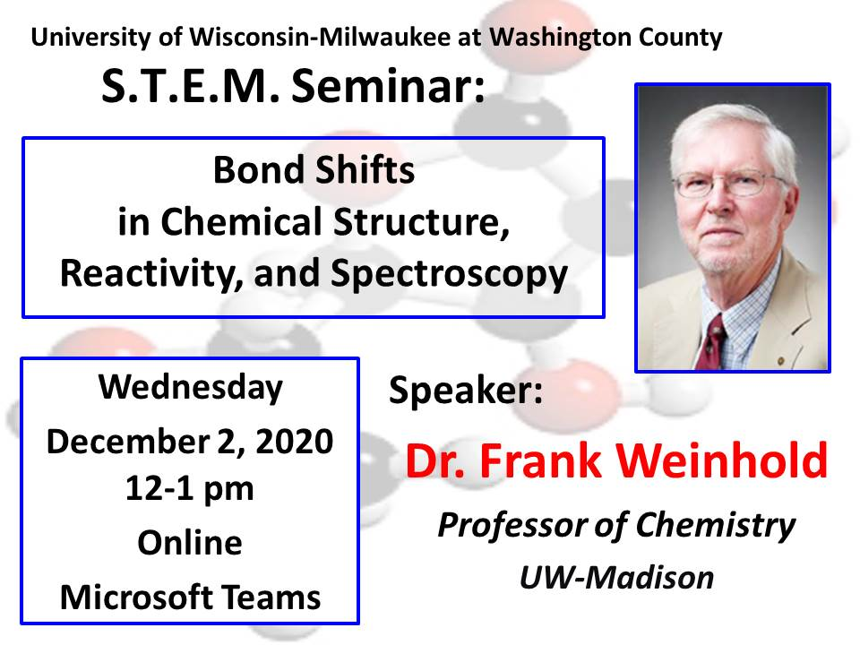 Details For Event 18930 – S.T.E.M. Seminar: Bond Shifts in Chemical Structure, Reactivity, and Spectroscopy