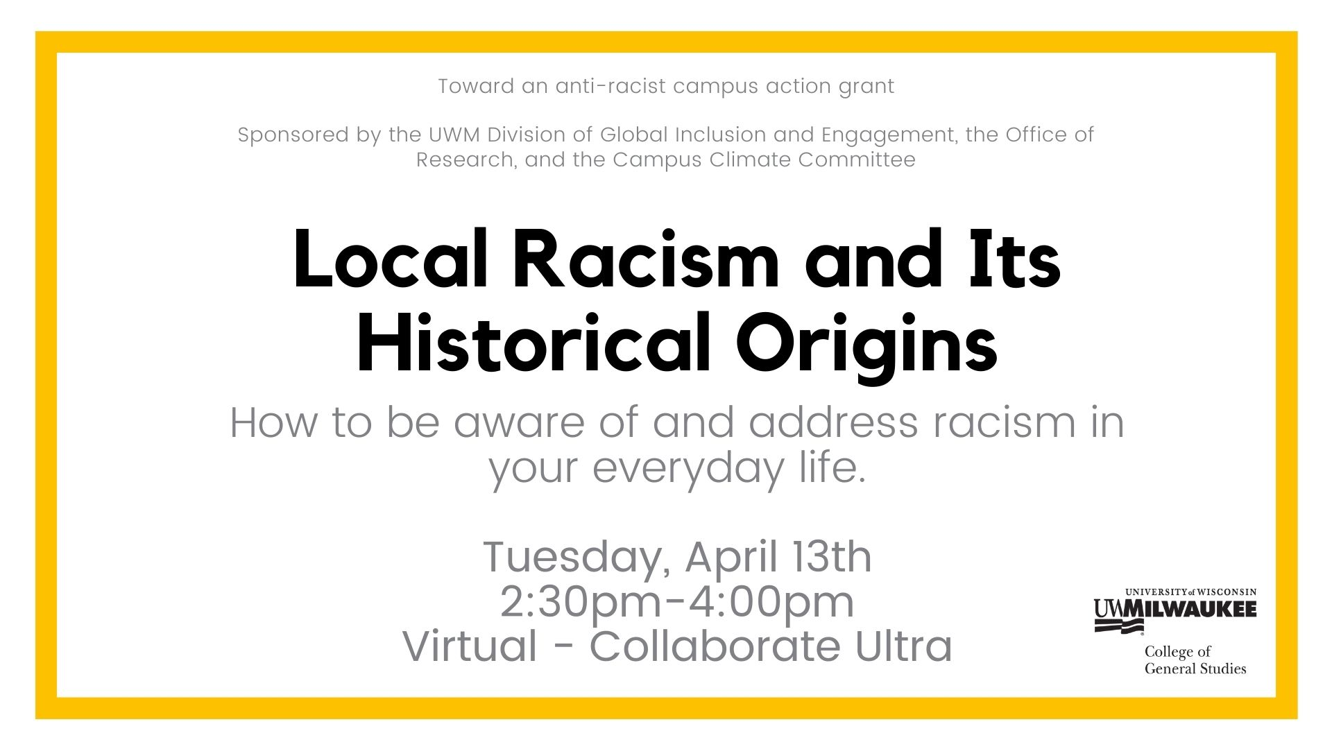 Details For Event 19490 – Local Racism and Its Historical Origins