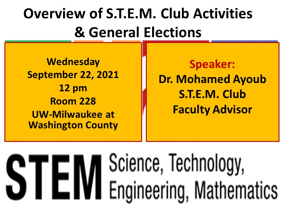 Details For Event 20063 – S.T.E.M. Seminar: Overview of S.T.E.M. Activities