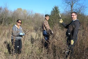 Volunteers show off their tools as they remove buckthorn at the field station.
