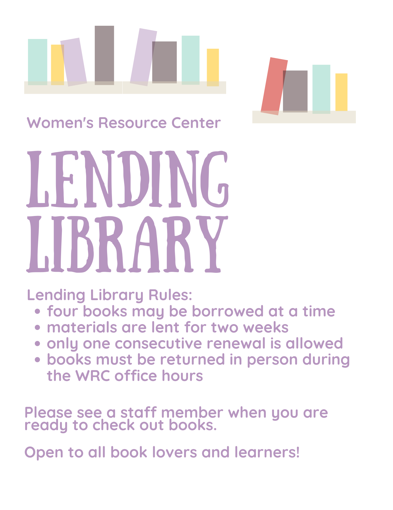 Women's Resource Center Lending Library Rules